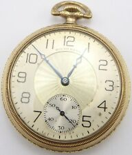 Antique gold plated American South Bend Pocket watch in box.17 Jewels. Working