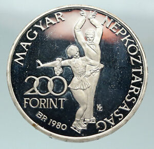1980 HUNGARY Lake Placid Olympics ICE DANCE Proof Silver 200 Forint Coin i84804