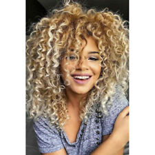 Real Human Hair Wig Ombre Blonde Kinky Curls Lace Front Virgin Full Lace Wigs