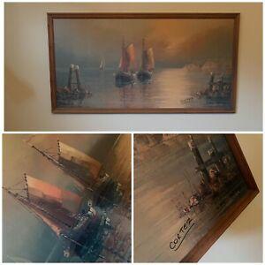 VINTAGE Mid Century Framed Artwork By Cortez PICK UP ONLY