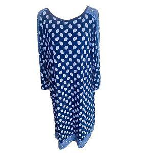 Michael Kors Shift Dress Size M Blue Paisley Stretch Batwing Mid Sleeve Midi