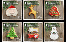 Christmas 2016 set of 6 stamps mnh Gibraltar #1588-93 cookie Santa Tree Reindeer
