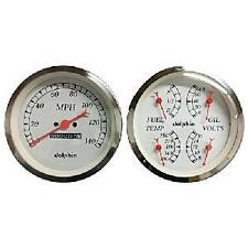 DOLPHIN 3-3/8 WHITE QUAD GAUGE SET MECH.SPEEDOMETER HOTROD/FORD/CHEVY/TRUCK