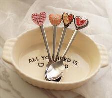 Resin Dessert Cake Ice Cream Stainless Steel Spoon Coffee Stir Cute Teaspoon New