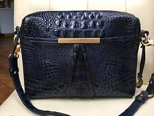 Brahmin Crossbody Sapphire Blue Crocodile Melbourne Leather Bag