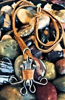 Spirited Vintage Nordic Runic Metal Copper Bound Leather Tie Pendulum Necklace