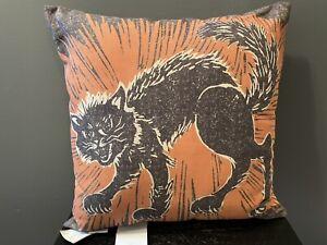 "NWT Pottery Barn Black Cat Halloween Pillow Outdoor Throw 20"" X 20"" RARE"