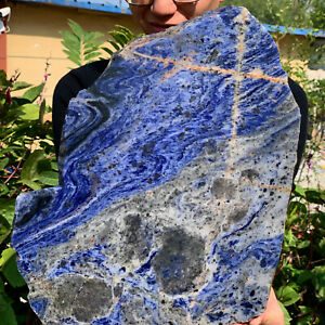 9.761LB Natural Blue Striped Stone Quartz  Mineral Polished Healing