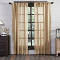 Tobacco Cloth Khaki Window Panel Rustic Primitive Unlined Curtains Fringe Beige