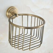 Antique Brass Wall Mount Bathroom Toilet Tissue Paper Roll Holder Basket lba732