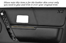 BLACK STITCH 2X FRONT DOOR CARD LEATHER COVERS FITS LANDROVER FREELANDER 04-06