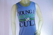 YOUNG & RECKLESS BLUE MEN TANK TOP GREEN AND BLACK LOGO size Medium