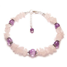 Rose quartz and amethyst bracelet Sterling and bali silver gemstone gem stone