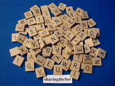 100 SCRABBLE TILES Complete Set Wood Letters Scrapbooking /Jewelry / Replacement
