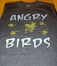 """Angry Birds"" Woodstock Distressed Retro T-Shirt (Cotton Blend, Dark Gray, S)"