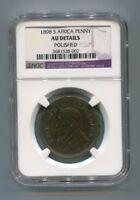 South Africa Zar NGC Certified 1898 Kruger Penny Au Details version p