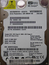 250 gb de Western Digital WD 2500 BEVS - 22 usto/dhcvjhbb/nov 2007/Disque dur *