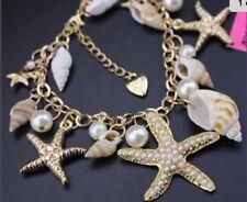 Gold Enamel Crystal Summer Gift Box Betsey Johnson Bracelet Beach Sea Shells