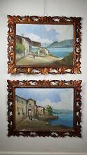 "Coppia Dipinti ""Paesaggio Marino"" . oil painting - ancien hiule sur table"