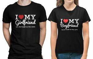 I LOVE MY GIRLFRIEND BOYFRIEND UNISEX T SHIRT FUNNY COUPLE GIFT