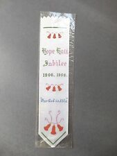 Vintage BOOKMARK Printed Ribbon HOPE HALL JUBILEE 1906 1956 Our God is Able