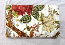 kantha Quilt Floral Indian Cotton Handmade Bedspread Queen Size Gudari White