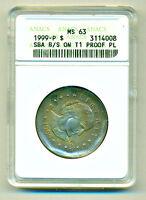 1999 $1 ANACS MS64 █PROOF Type 1 Planchet (Blank)█ ♚Broadstruck♚ ▶SBA One Dollar