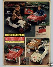 1968 PAPER AD 2 PG Sports Car Pedal Cars Mustang Honda 50 Volkswagen Bug Stutz