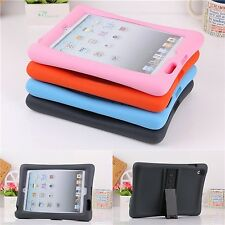 Soft Silicone Rubber Shockproof Stand Cover Case For iPad 2 3 4