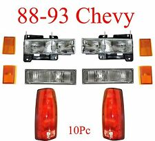 88 93 Chevy 10Pc Head & Tail Light Kit, Includes Parking & Side Lights, Truck
