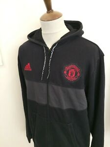 ADIDAS MANCHESTER UNITED ZIP UP HOODED SWEAT SHIRT TOP SIZE XL BLACK