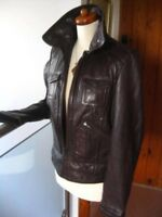 RRP £130 Ladies NEXT brown real leather JACKET COAT size UK 10 8 biker bomber