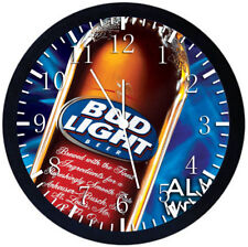 Bud Light Black Frame Wall Clock Nice For Decor or Gifts Y51