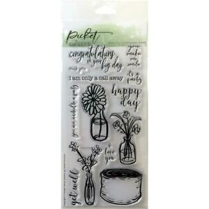 """Picket Fence Studios 4""""X8"""" Stamp Set  Rustic Floral (New) F-111"""