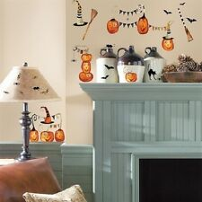 HALLOWEEN PUMPKINS wall stickers 38 decals black cat witch hat broom bat spider