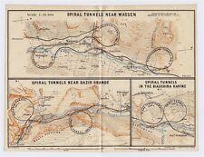 1911 MAP SPIRAL TUNNELS WASSEN DAZIO GRANDE BIASCHINA RAVINE ALPS SWITZERLAND