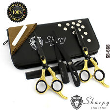 "6"" Professional Hairdressing Scissors Barber Haircutting Shears Set Gold & Black"