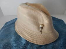 Women's Beige Hat with Faux Broch