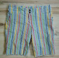 Loudmouth Golf Shorts Womens 8 Rainbow Multicolor Long Bermuda
