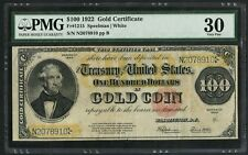 1922 $100 One Hundred Dollar Gold Certificate Fr-1215 PMG 30 Very Fine