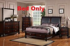 Faux Leather Headboard 1 Piece Cal King Size Bed For Bedroom Dark Wood Furniture