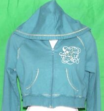 XXI (21) Juniors M Dark Teal Zip Crop Hoodie Long Sleeve 100% Cotton