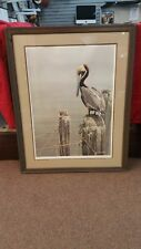 Robert Bateman Brown Pelican and Pilings Signed by the artist and framed