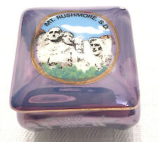 MOUNT RUSHMORE S. D.--SOUTH DAKOTA TRINKET BOX IRIDESENT BLUE