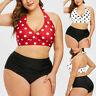 Women Swimwear Beachwear Plus Size Polka Dot Print Halter Swimsuit Bikini Set