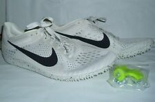 Nike Zoom Men Racing Distance Cleats Spikes White & Black Shoes Size 12 1/2 New