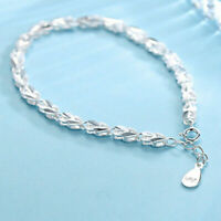 Womens 925 Sterling Silver Bracelet Adjustable Anklet Chain Wedding Jewelry Gift