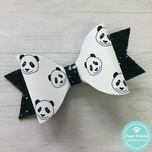 """Black & White Panda Faces Hair Bow -  3.5"""" Hair Clip"""