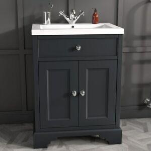 600mm 2 Door Traditional Victorian Charcol Grey Floor Standing Sink Vanity Unit