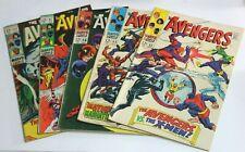 AVENGERS # 53 55 56 61 + 62 SILVER RAW LOT X5 - (SJ) Vintage Classic Marvel Gold